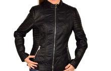 Дамско кожено яке в макси размери - 1527 - черно