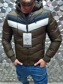 Мъжко зимно яке - тъмно зелено - 3217 -