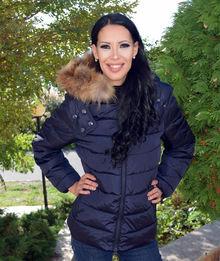 Дамско зимно яке с ЕСТЕСТВЕН КОСЪМ- код 930- тъмно синьо