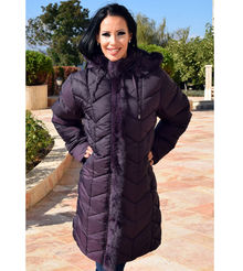Дълго зимно дамско яке -Е18- от 4ХЛ до 7ХЛ - тъмно лилаво