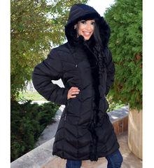 Дълго зимно дамско яке -Е18- от 4ХЛ до 7ХЛ - черно