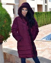 Дълго зимно дамско яке -Е19- от ХЛ до 5ХЛ - бордо