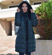 Дълго зимно дамско яке -Е19- отХЛ до 5ХЛ-тъмно зелено