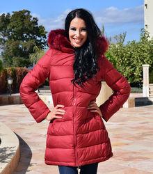 Дамско дълго зимно яке- код 909-червено