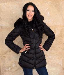 Дамско дълго зимно яке -код 2029-черно с черен пух