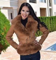 Дамско късо палто- код 827-камел