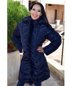 Зимно дълго дамско яке -Е18- от 4ХЛ до 7ХЛ - тъмно синьо
