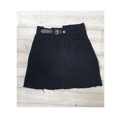 Дамска пола с колан - 3740 - черна