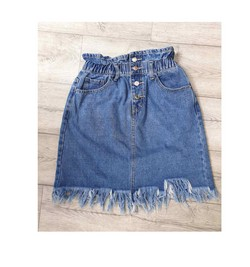 Дънкова къса пола - 3754 - синя с копчета
